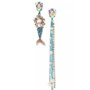 Betsey Johnson Mermaid Dangle Mismatch Earrings